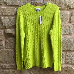 Vineyard Vines Neon Yellow Pullover Sweater Cable